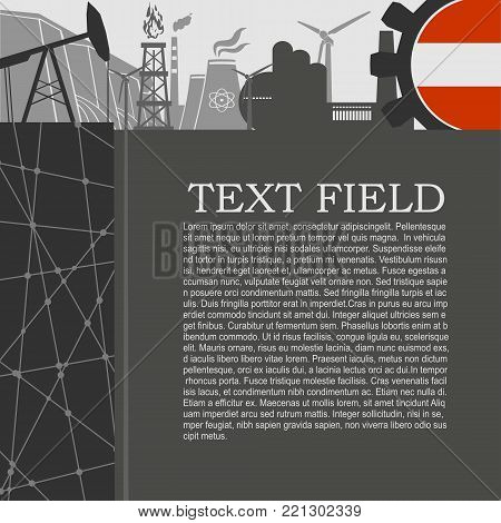 Energy and Power icons set. Sustainable energy generation and heavy industry. Field for text. Modern brochure, report or leaflet design template. Flag of Austria in gear
