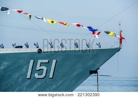 Pattaya, Thailand - November 18, 2017, Marines in activity of fleet review on warship running on sea on the 50th anniversary ASEAN international fleet review 2017 drill in Pattaya, Thailand