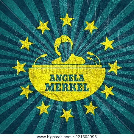 Germany - Circa, 2017: An illustration of a portrait of german chancellor Angela Merkel portrait. Frame from stars Grunge texture