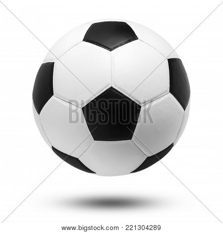 soccer ball closeup image. soccer ball on isolated. black and white color soccer ball. soccer ball on white .