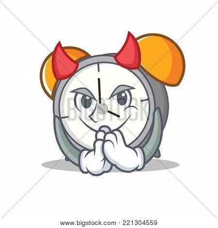Devil alarm clock mascot cartoon vector illustration