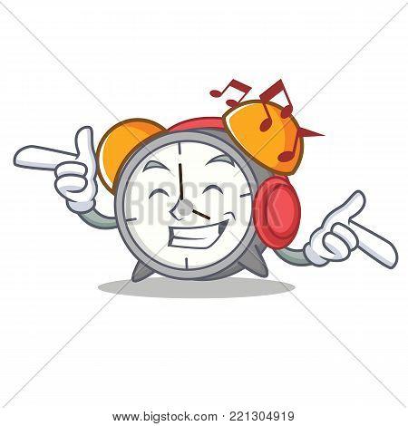 Listening music alarm clock mascot cartoon vector illustration
