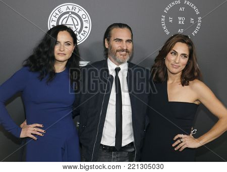 Rain Phoenix, Joaquin Phoenix and Summer Phoenix at the Art Of Elysium's 11th Annual Heaven Celebration held at the Barker Hangar in Santa Monica, USA on January 6, 2018.