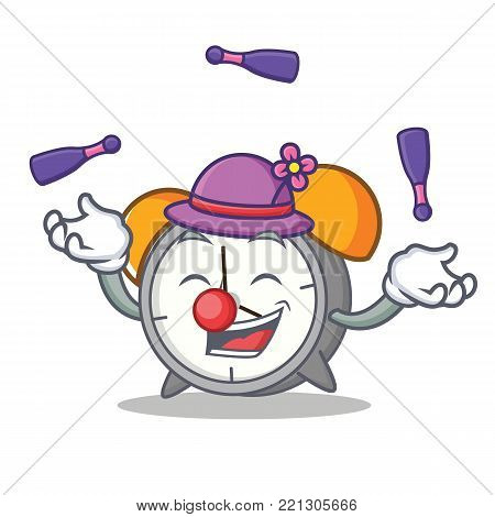 Juggling alarm clock mascot cartoon vector illustration