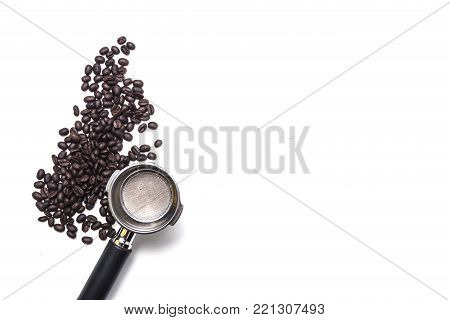 coffee bean and coffee maker on white background