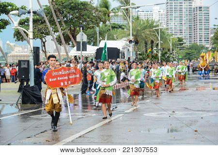 Pattaya, Thailand - November 19, 2017: Cultural Promotion parade marching on the 50th anniversary ASEAN International Fleet Review 2017 to promote tourism in Pattaya city of Thailand
