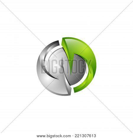 3d circular round balanced N letter Initials alphabet Logo design Template element
