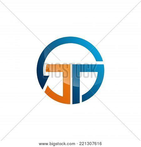 arrow circle letter jd initials alphabet logo design template element