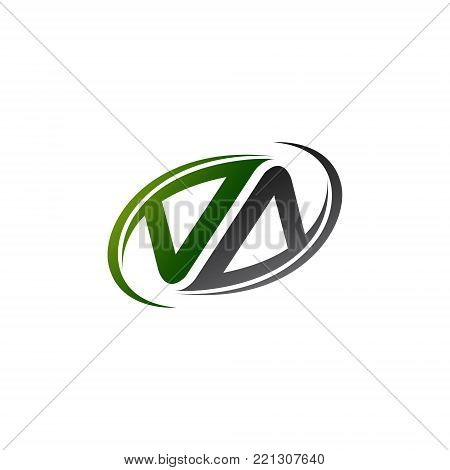 initial letter VA logotype company name color green grey swoosh design concept. vector logo for business and company identity.