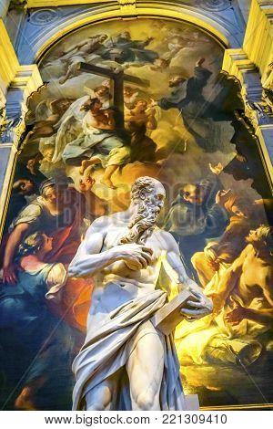VENICE, iTALY - SEPTEMBER 21, 2017 St Jerome Statue Miracle of Saint Joseph Painting  ainting Santa Maria Gloriosa de Frari Church San Polo Venice Italy.  Church completed in 11OOS.  Vittoria created St Jerome statue in 1564 and Nogari created Saint Josep