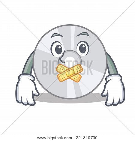 Silent CD mascot cartoon style vector illustration