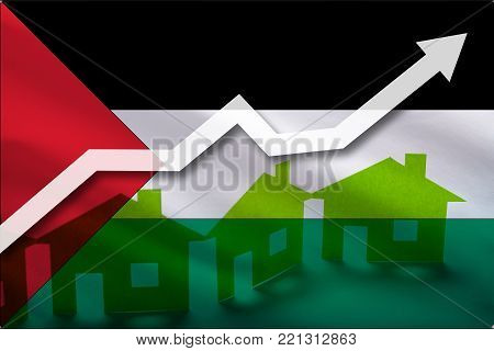 The flag of Palestine and the rising prices of real estate. Rental prices are rising up in the tourist season. Home and white arrow up on a flag background.