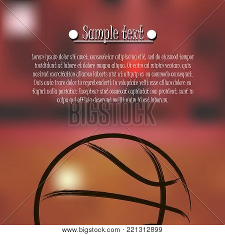 Basketball background. Basketball banner with basketball ball and text field on orange background. Vector illustration
