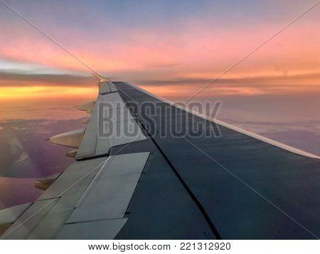 Sunset Airplane Journey