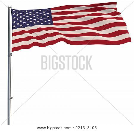 Isolate flag of USA on a flagpole fluttering in the wind on a white background, 3d rendering