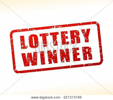 Illustration of lottery winner text buffered on white background