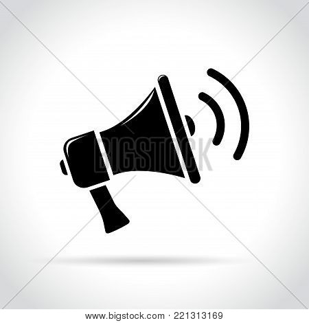 Illustration of loud speaker on white background
