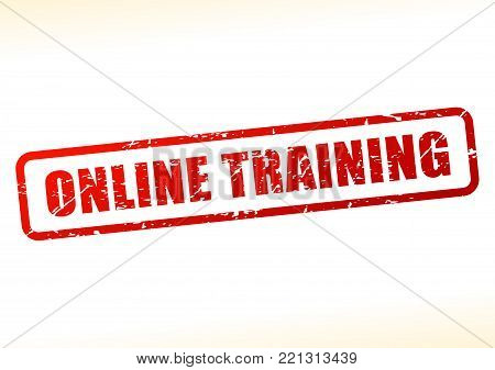 Illustration of online training text buffered on white background