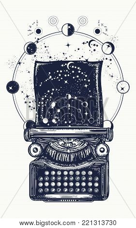 Typewriter Tattoo. Symbol Of Imagination, Literature, Philosophy, Psychology, Imagination. Antique T