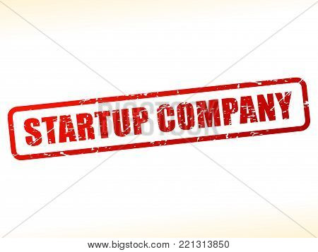 Illustration of startup company text buffered on white background
