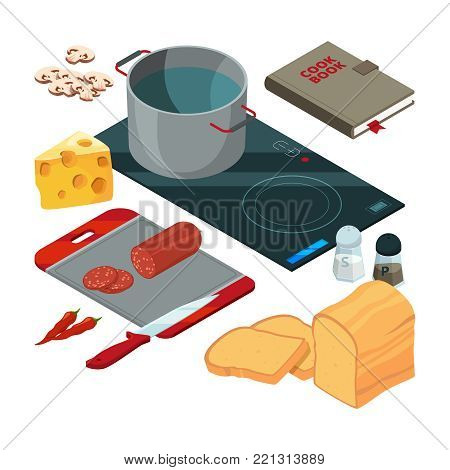 Different cooking tools on the kitchen. Equipment for cook, kitchenware and utensil, sausage and bread and cheese, vector illustration