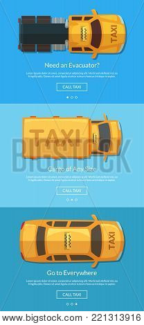 Vector order taxi app screens with different taxi cars top view for tablet template. Taxi car service, transportation cargo and evacuator banner illustration