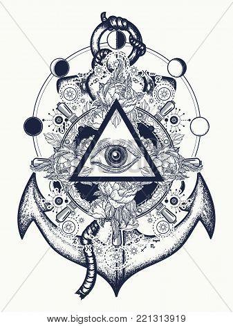 All Seeing Eye Tattoo Art Vector. Freemason And Spiritual Symbols. Alchemy, Medieval Religion, Occul