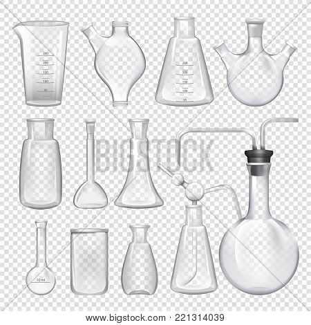 Equipment for chemical laboratory. Different vials and jars. Vector realistic illustrations. Chemical glass laboratory for science experiment
