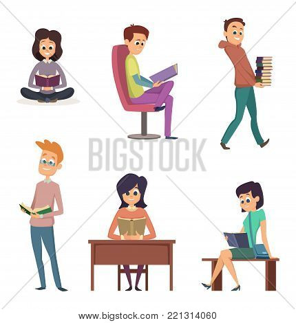 Different gadgets for reading. Characters reading books. Character reading book, student girl and boy illustration