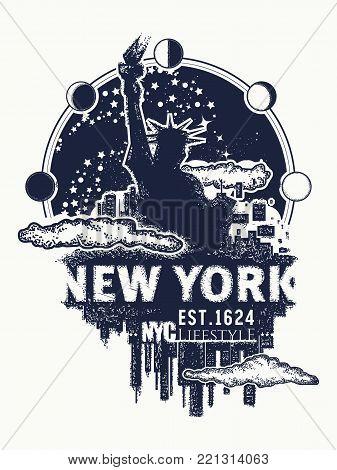 New York tattoo and t-shirt design. New York city skyline cityscape art poster