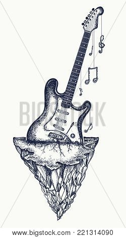 Guitar and mountains tattoo and t-shirt design. Electro guitar has grown into  rock, symbol of hard rock, punk music, rock and roll art