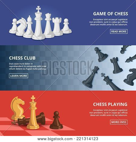 Horizontal banners set with illustrations of chess. Vector design template with place for your text. Chess strategy and competition, sport brainstorm intelligence