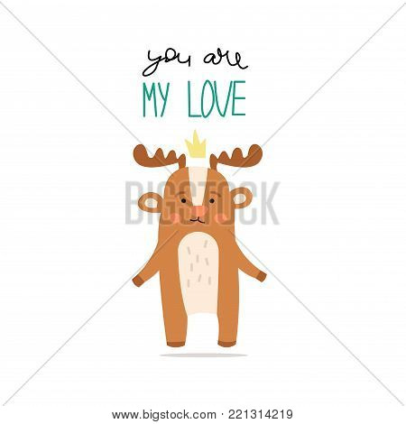 Cute vector card with a declaration of love and a cartoon moose.