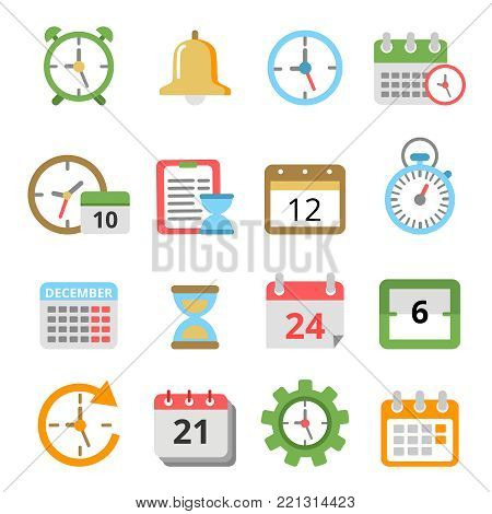 Time management symbols. Calendars, reminders, planners and other vector icons set. Calendar and planner diary, appointment and agenda management illustration poster