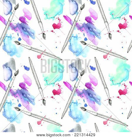 Brush and blue watery blot seamless pattern.Abstract watercolor hand drawn illustration.Azure splash.White background.