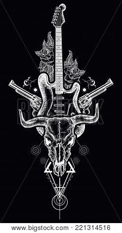 Rock and roll tattoo. Bull skull, guns, roses, electric guitar black style. Symbol of hard rock, music, western, heavy metal. Rock t-shirt design