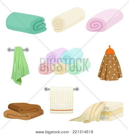 Different colored towels for kitchen and bathroom. Vector pictures in cartoon style. Illustration of towel for hygiene bath, hotel and bathroom