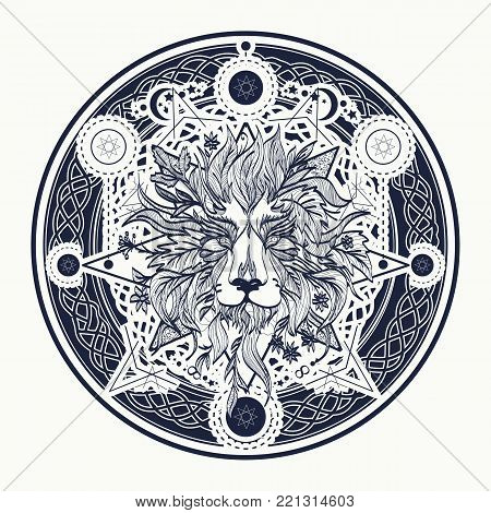Medieval Lion Tattoo And T-shirt Design. Ornamental Tattoo Lion Head. Alchemy, Religion, Spiritualit