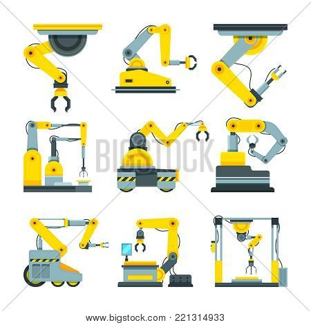 Industrial mechanical hands. Vector pictures in cartoon style. Robot arm for production industrial, equipment manufacturing illustration