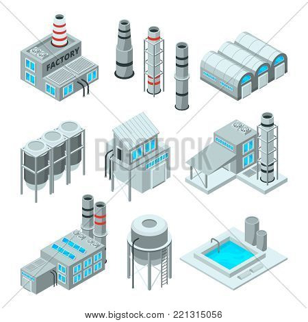 Set of industrial or factory buildings. Isometric 3d pictures. Industry factory building, architecture industrial, vector illustration