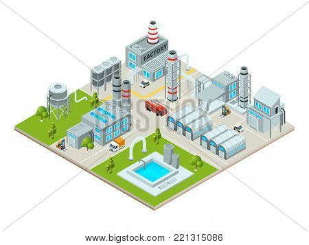 Outdoor landscape with factory buildings. Isometric pictures. Factory building and industrial area, production construction. Vector illustration
