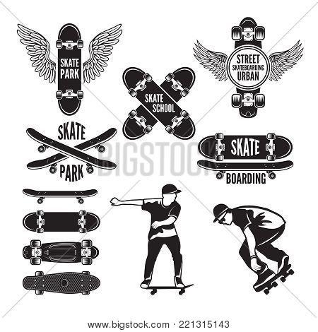 Illustrations of skating and labels for skateboarders. Vector monochrome pictures. Skateboarding emblem, extreme sport label set