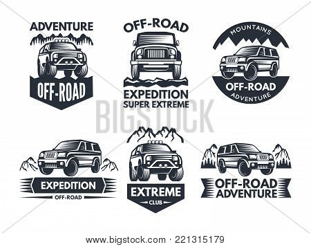 Off road symbols. Labels with 4x4 truck. Logos or labels with suv cars. Automobile car logo, transport for travel emblem off-road. Vector illustration