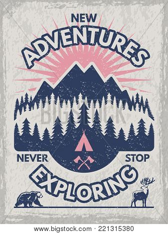 Retro poster for club of travelers. Wildlife illustrations. Vector design template with place for your text. Adventure mountain and explore forest banner