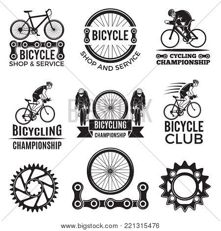 Labels set for biking club. Illustrations of freeride bicycles. Bike logo and emblem, sport extreme activity vector