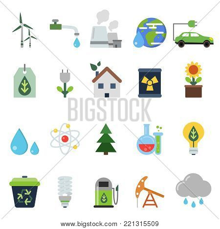 Different green symbols on the ecology theme. Vector icons set in flat style. Environmental and renewable natural energy illustration