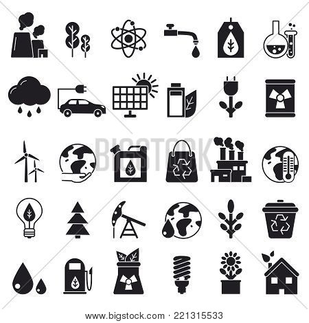 Monochrome icons set of ecology. Vector pictures renewable bio energy, solar panel and oil illustration