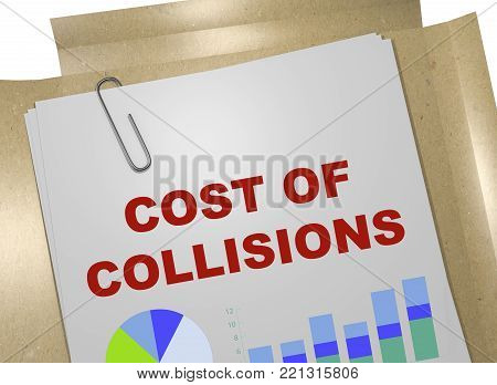 3D illustration of COST OF COLLISIONS title on business document