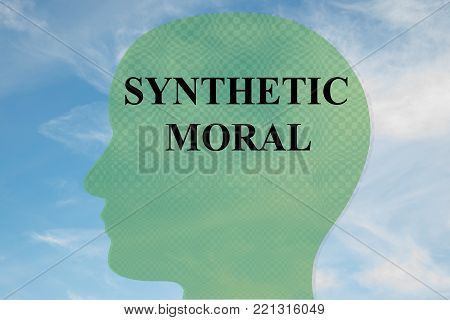 Render illustration of SYNTHETIC MORAL title on head silhouette, with cloudy sky as a background.