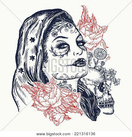Santa muerte woman tattoo. Sugar Skull. Santa Muerte mexican woman, human skull and roses tattoo. Gothic art t-shirt design
